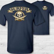 Surfer crossbones t-shirt - big wave surfboard surfing skull badge tee shirt