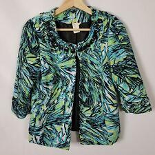 lavender & honey Womens Jacket Size PM Petite Blue Green 3/4 Sleeve Career