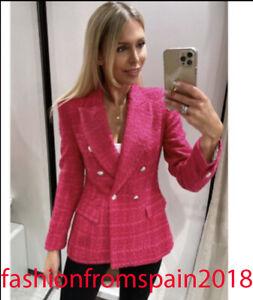 ZARA NEW WOMAN TEXTURED DOUBLE-BREASTED BLAZER JACKET FUCHSIA XS-XL 7822/460