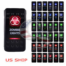 Red Light LED Zombie 12V 20A 10A 5-pin Rocker Toggle Switch Car Boat Waterproof