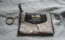 Coach Brown Signature Mini Skinny ID Holder Wallet Keychain Keyring Coin Purse