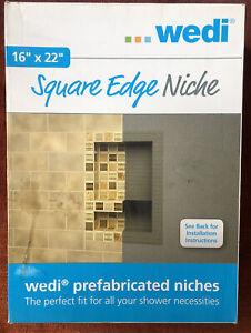 """NEW IN BOX~ Wedi Shower Square Edge Niche 16"""" x 22"""" Install Tile Bathroom Alcove"""
