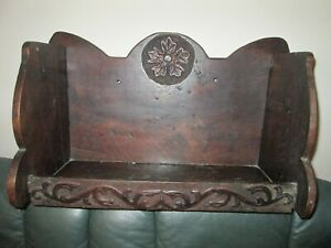 """Antique hand caved chapel church old bookshelf for wall hanging 12"""" tall"""