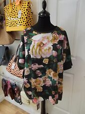 PAPAYA Green Floral Dipped Hem Top with Grey Marl T-Shirt Type Back UK Size 20