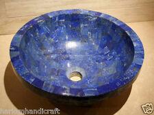 "24"" Exclusive Marble Round Washbasin Lapis Lazuli Natural Stone Sink Decor"