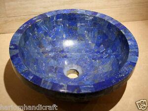 "18"" Marble Washbasin Lapis Lazuli Natural Stone Arts Sink Accessories Gift Decor"
