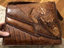 ALLIGATOR brown leather purse shoulder bag Vintage Authentic