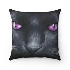 BLACK CAT With Purple Eyes Spun Polyester Square Pillow