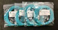 Lot of 4 CAB-LCLC-MMOM3-17M 50/125 10G Multimode OM3 Aqua Fiber Patch Cables