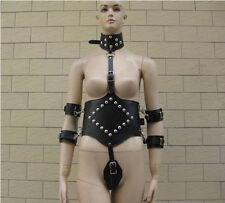Faux/PU Leather Neck Collar Arms Cuffs Restraint suit Corset Binder Fancy dress