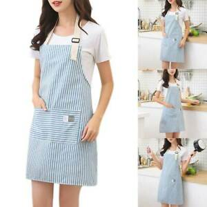 Cotton Linen Apron Pocket Stripe Cooking Baking Cafe Chef Restaurant Kitchen SA