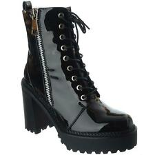 New Womens Ladies Chunky Heel Combat Platform Lace Up Ankle Zip Boots Shoes Size