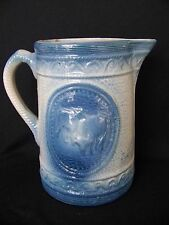 """Blue and White Stoneware Cows/Bulls Pitcher 8 1/8"""" Tall"""