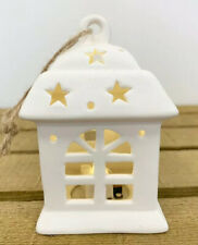 LED White Ceramic House With Lights Hanging Home Decoration Christmas Tree
