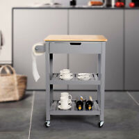 3 Tiers Kitchen Cart Island Rolling Dining Wooden Trolley Storage Cabinet Home