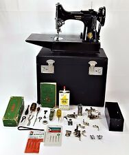 Working! EVC Singer 221-1 Portable Sewing Machine w/Case Cord Accessories Manual