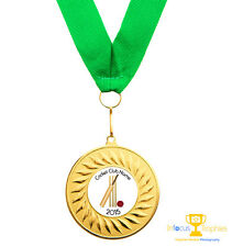 10 x Cricket Medals Personalised With Your Logo/Name + Ribbon