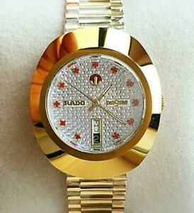 Vintage Rado Diastar Automatic Day-Date Gold Plated Red Stone Men's Wrist Watch