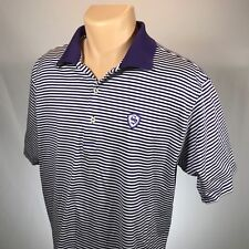 Peter Millar L Polo Mens Shirt Size Large Short Sleeve Blue White Striped