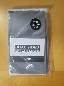 New King NIGHT Dual Sided Beauty Pillowcase Gun Metal Gray Mulberry Silk Bamboo