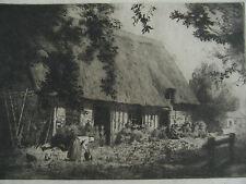 Gravure originale de R. SERRE-chaumière  Normande -  xxe signée