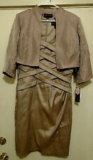 New KM Collections by Milla Bell 2 Piece Set Dress and 3/4 Sleeve Jacket Size 10