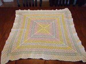 "yellow Afghan vintage Handmade Crochet Quilt Throw Blanket 36""x36"" EASTER child"