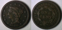 1848 Copper Braided Hair Liberty Head Large Cent US Type Coin Fine Penny