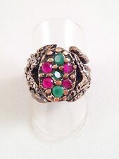 CHUNKY FAUX RUBY & FAUX EMERALD STATEMENT RING Sz:7 1/2 -O -Big Sultan Ring