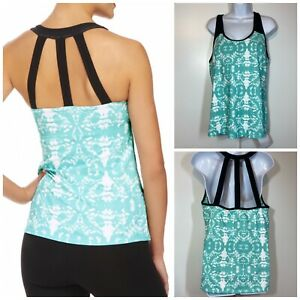FABLETICS Women's Zion Strappy Athletic Tank Top Build In Bra Printed Size XXL