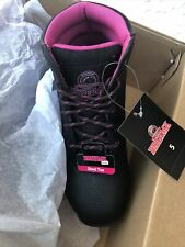 WOMEN'S BRAHMA FOR HER BLACK WORK BOOTS STEEL TOE SAFETY 5 W BEVEL NEW In BOX