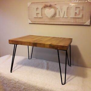 Solid Oak Handmade Coffee Table On Hairpin Legs