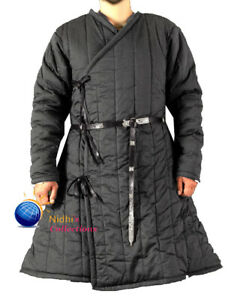 Medieval Jacket Costume Thick Padded Gambeson Full Length Sleeves Coat Aketon