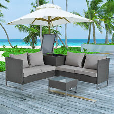Modern 4pc Patio Furniture Sectional Rattan Wicker Sofa Set Outdoor Cushioned