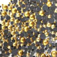 Assortiment strass JAUNE CLAIR en verre hotfix s06 + s10 + s16 + s20 n°(113)