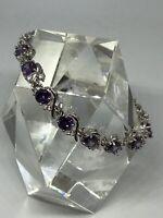 Purple Amethyst  Round Surround 925  Sterling Silver Tennis  Gemstone Bracelet
