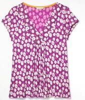 NEW! Lovely Ladies WHITE STUFF Soft Plum 'Peony Print' Jersey Top T Shirt 10-14