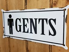 Vintage Style Retro Distressed Black & White Metal Plaque / Tin Sign - GENTS