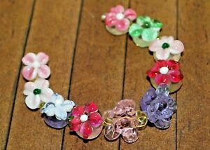 New 10 pc set Fine Murano Lampwork Glass Beads - Detailed Flowers - A4444c