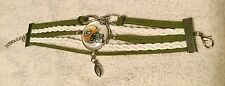 """Greenbay Packers with  """"G"""" on Helmet & Football Charms Suede Leather Bracelet"""