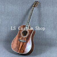 Handmade 41'' Top Quality Full Koa Top&back side  Electric Acoustic Guitar Bone