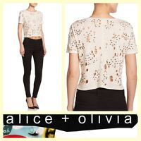 Alice + Olivia $245 ivory linen knit distressed sequins crop top/tee~XS