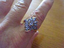 Beautiful Genuine Tanzanite Cluster 14k YG Ring Size 10