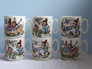 Rösler West Germany 6x Kindertasse Wig-Wam Indianer Henkelbecher Kaffeebecher