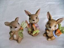 Set of 3 Vintage Homco #1410 Bisque Bunny Rabbits With Carrots Figurines