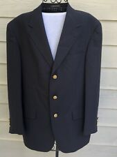 Vtg Tommy Hilfiger 39R Navy Blue Wool Blazer Jacket Sports Coat, Striped Lining