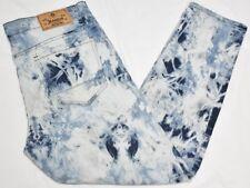 Akademiks Jeans Men's 36x32 Splash Marble Wash Zipper Moto Stretch Denim N904