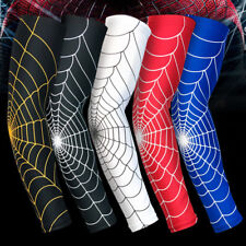 Spider Web Cycling Arm Warmer Sleeves Soft Shell Thermal Compression Running BL