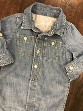 Baby Gap Chambray Lined Romper Boys Size 6-12 Months