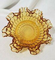 Vintage Fenton Colonial Thumbprint Amber Ruffled Bon-Bon Dish Bowl Crimped Vtg